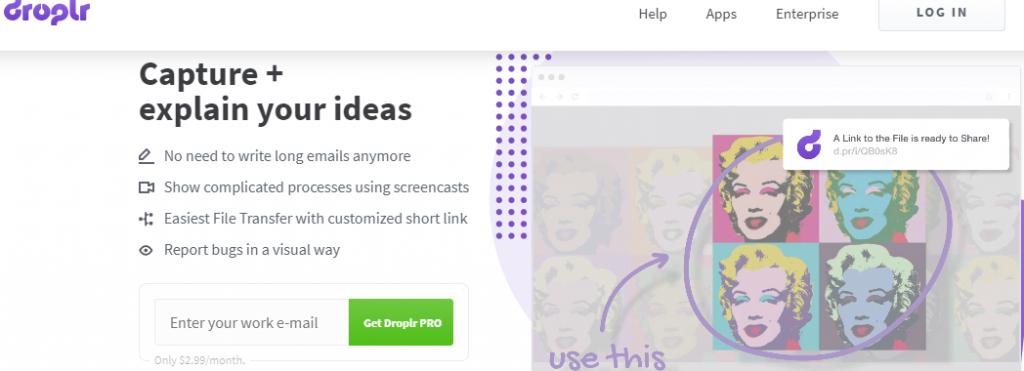 tạo ra các content bằng Droplr