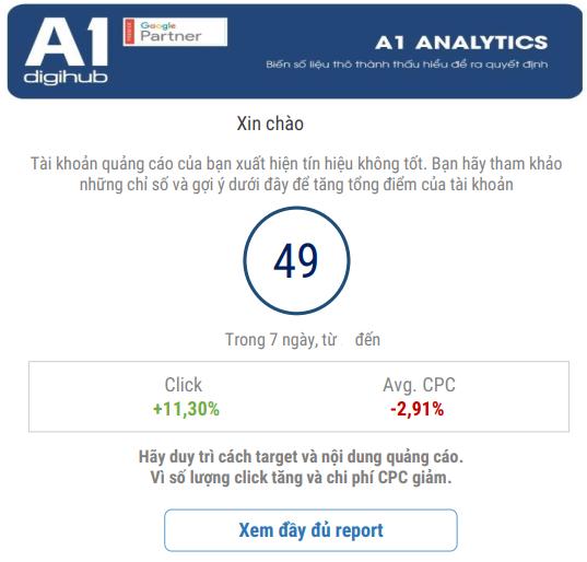 Báo cáo Dashboard A1 Analytics