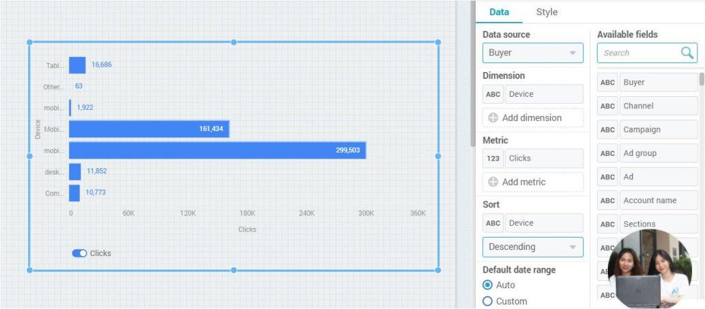 Hướng dẫn tạo biểu đồ thanh trong A1 Analytics