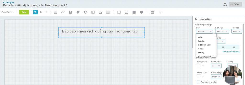 Hướng dẫn định dạng chữ trong template report A1 Analytics