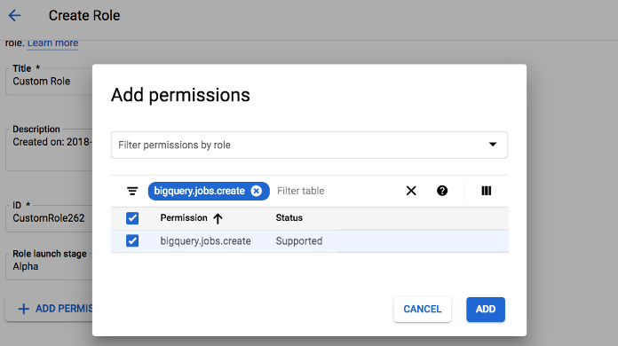 Create new role with just this permission