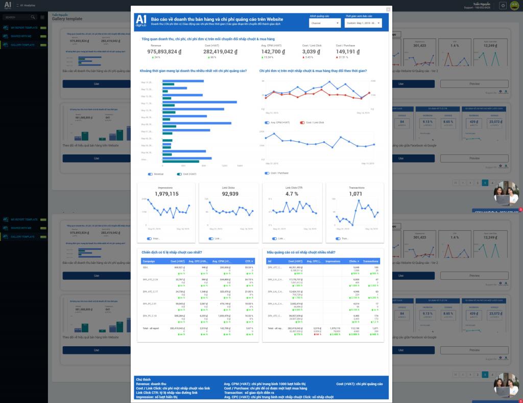 """Template """"Báo cáo doanh thu bán hàng và chi phí quảng cáo trên website"""