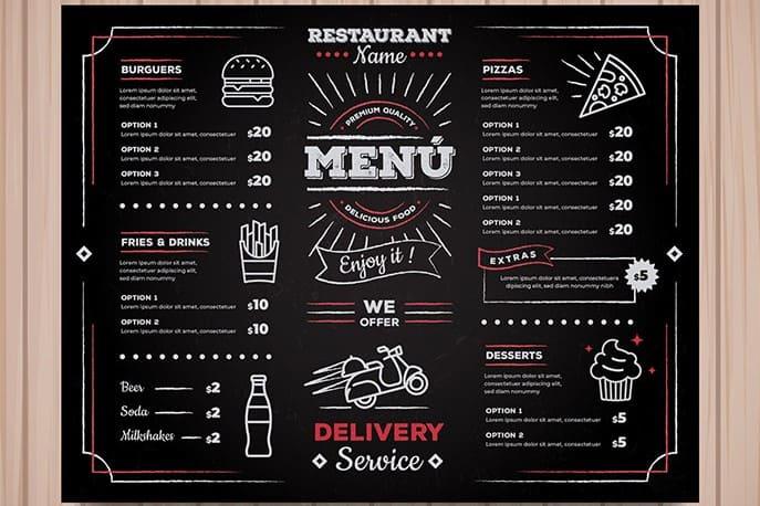 Menu nhà hàng có các mín ăn phù hợp với mô hình dịch vụ Delivery