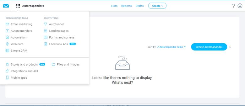 giao-dien-phần mềm email marketing getresponse