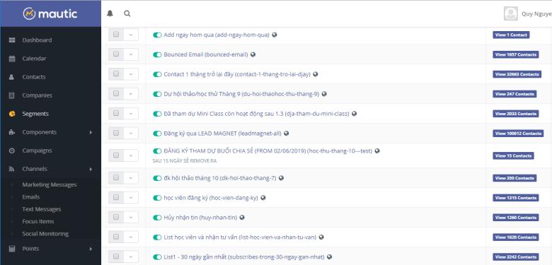 Cơ chế lọc trong phần mềm email marketing mautic