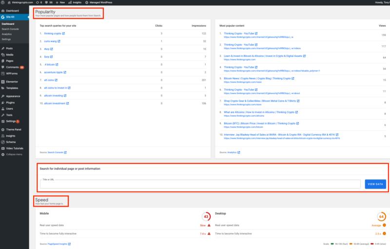 Dashboard plugin Google Site kit