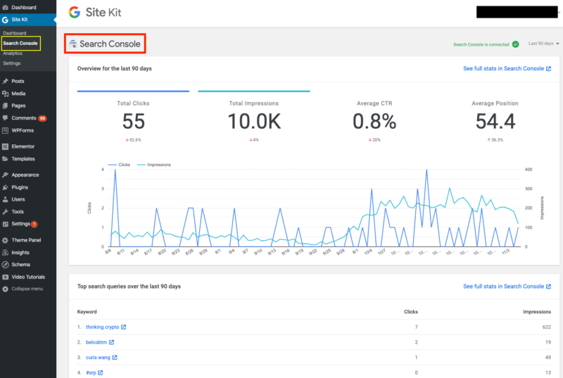Analytics và Search console trong google site kit