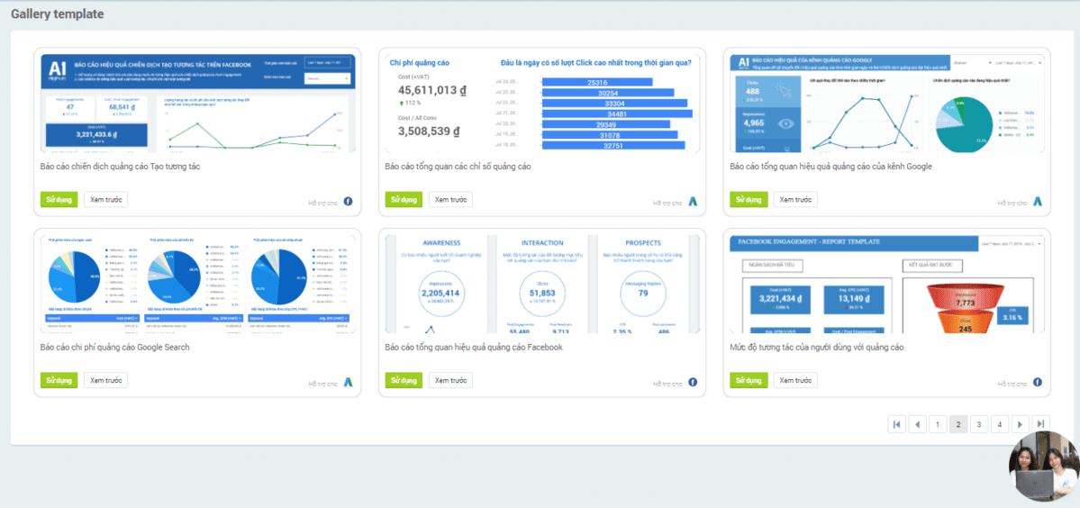 Kho template report A1 Analytics cấu hình sẵn