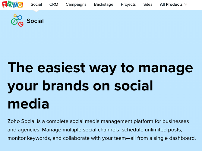 công cụ data report trên Zoho Social