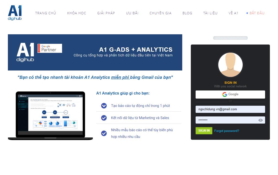 Đăng ký tài khoản A1 Analytics